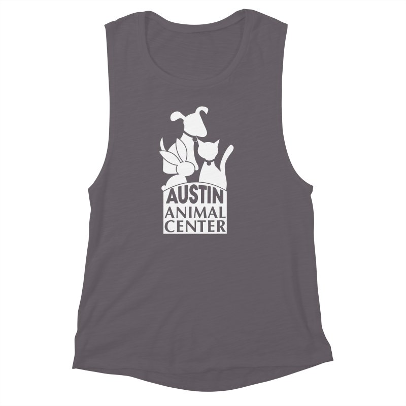 AAC Logo: White Women's Muscle Tank by Austin Animal Center Shop
