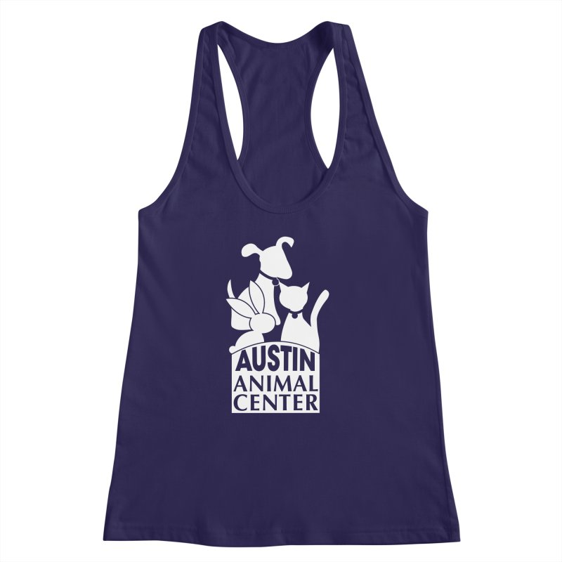 AAC Logo: White Women's Racerback Tank by Austin Animal Center Shop