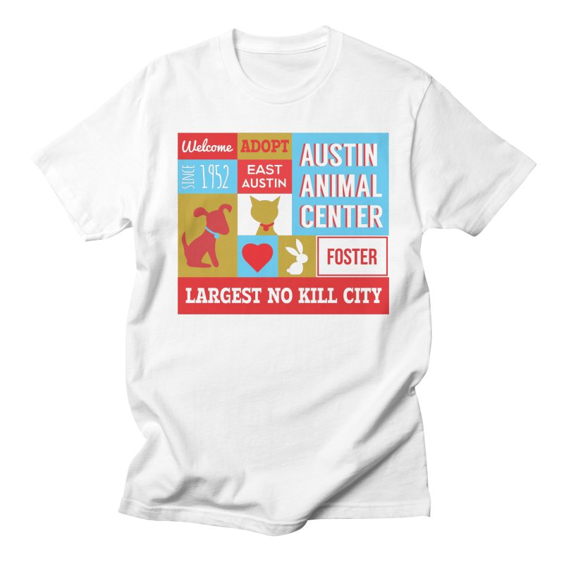 Austin Mural 4 Color in Men's Regular T-Shirt White by Austin Animal Center Shop