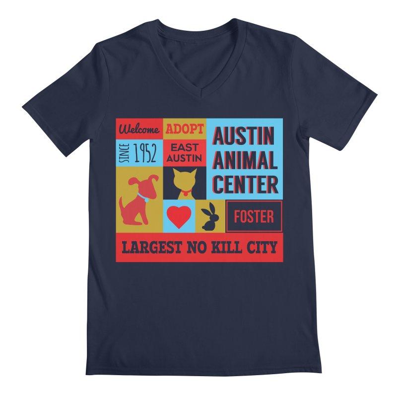 Austin Mural 4 Color Men's V-Neck by Austin Animal Center Shop
