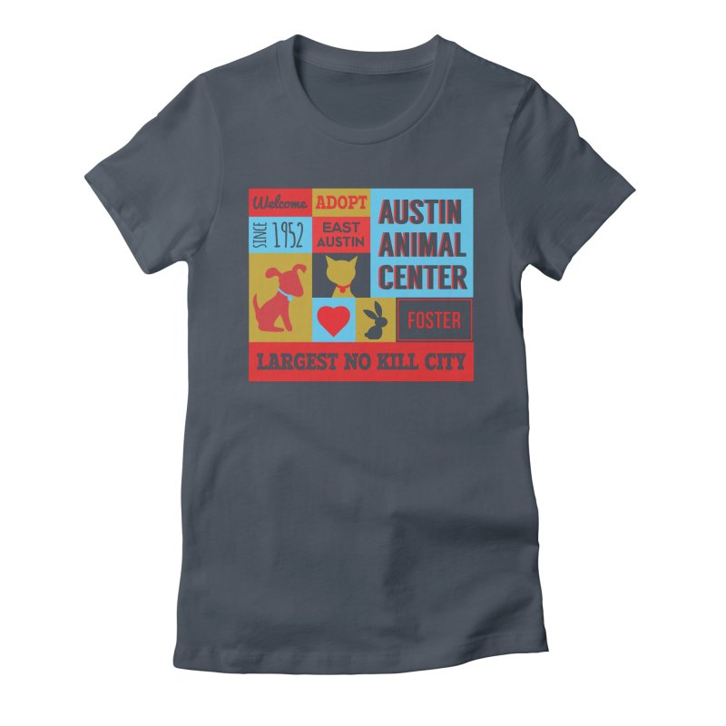 Austin Mural 4 Color Women's Fitted T-Shirt by Austin Animal Center Shop
