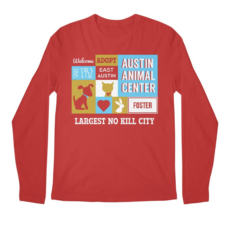 Austin Mural 3 Color Men's Longsleeve T-Shirt by Austin Animal Center Shop