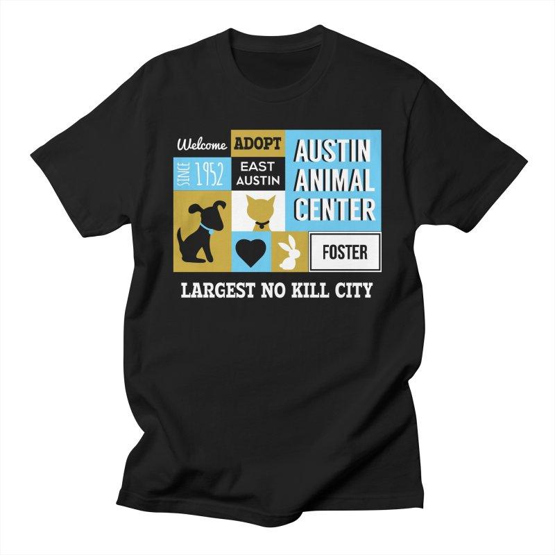 Austin Mural 3 Color Men's T-shirt by Austin Animal Center Shop