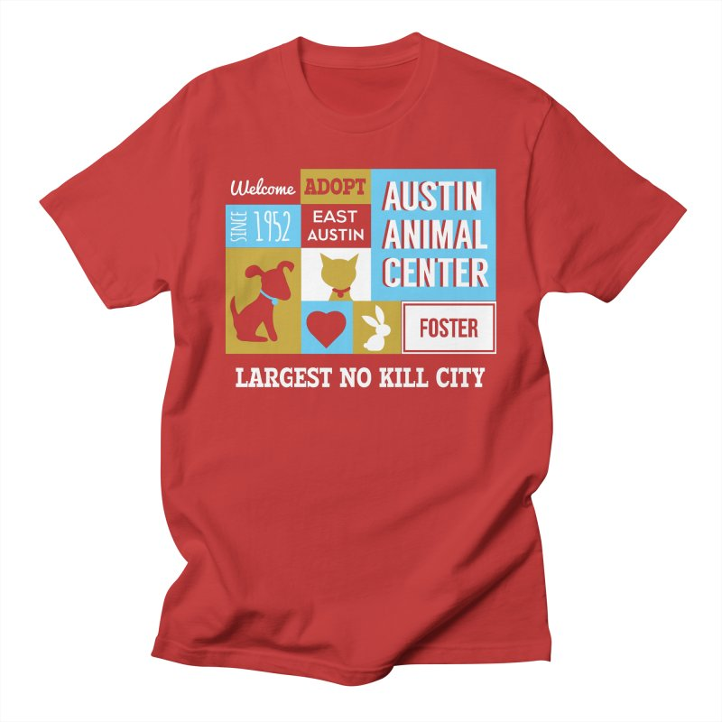 Austin Mural 3 Color Men's T-Shirt by Austin Animal Center Shop