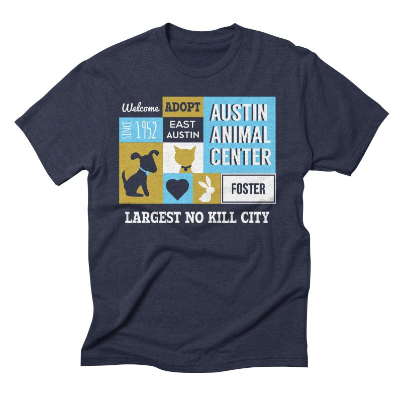 Austin Mural 3 Color Men's Triblend T-shirt by Austin Animal Center Shop