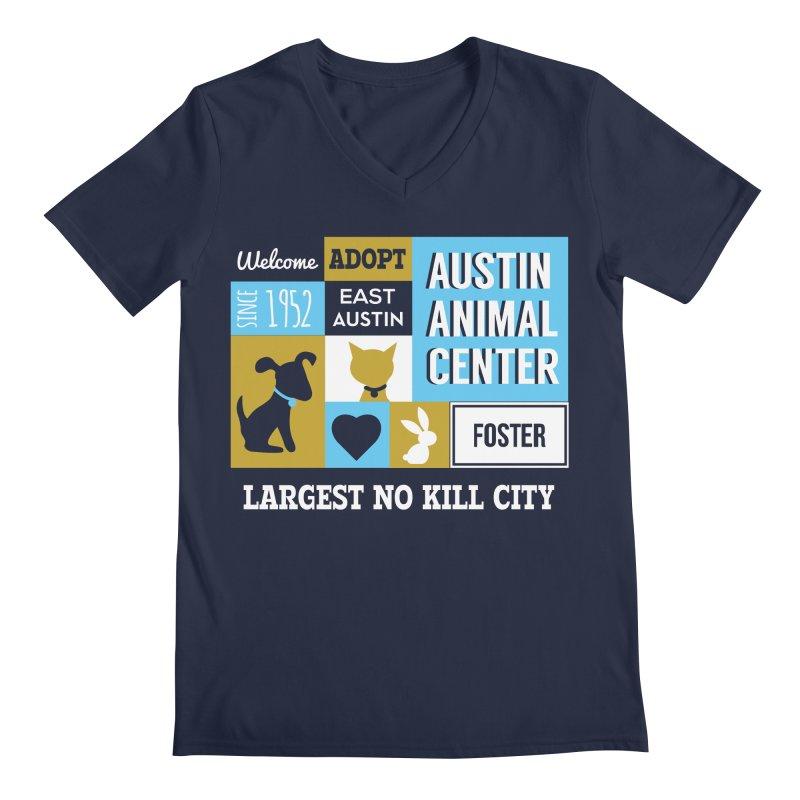 Austin Mural 3 Color Men's V-Neck by Austin Animal Center Shop