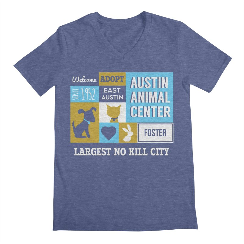 Austin Mural 3 Color Men's V-Neck by Austin Animal Center Shop