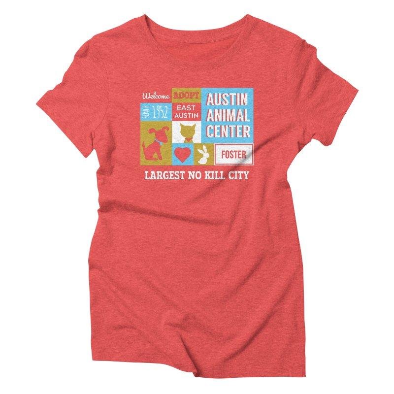 Austin Mural 3 Color Women's Triblend T-shirt by Austin Animal Center Shop