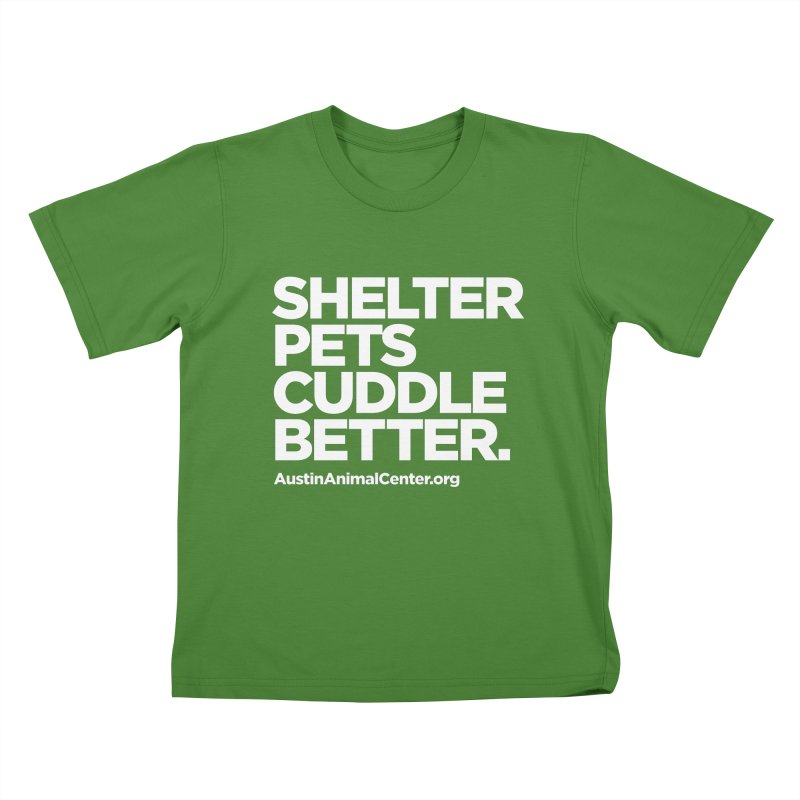 Shelter Pets Cuddle Better Kids T-Shirt by Austin Animal Center Shop