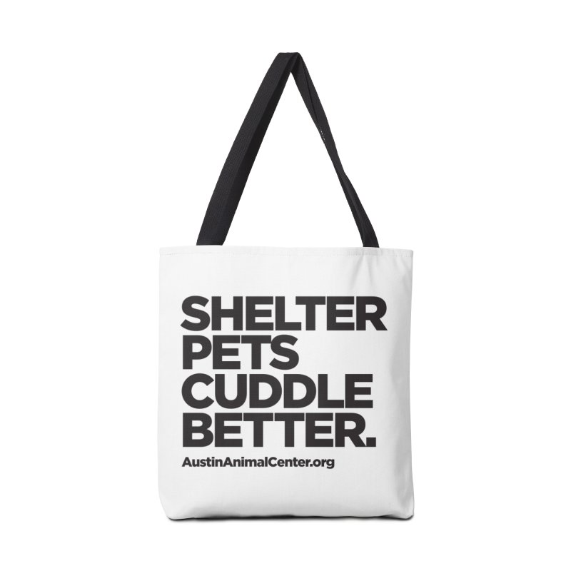 Shelter Pets Cuddle Better: Black Accessories Bag by Austin Animal Center Shop