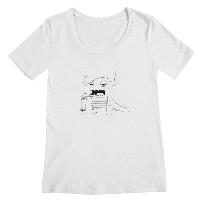 skate monster Women's Scoopneck by austinbeale's Artist Shop