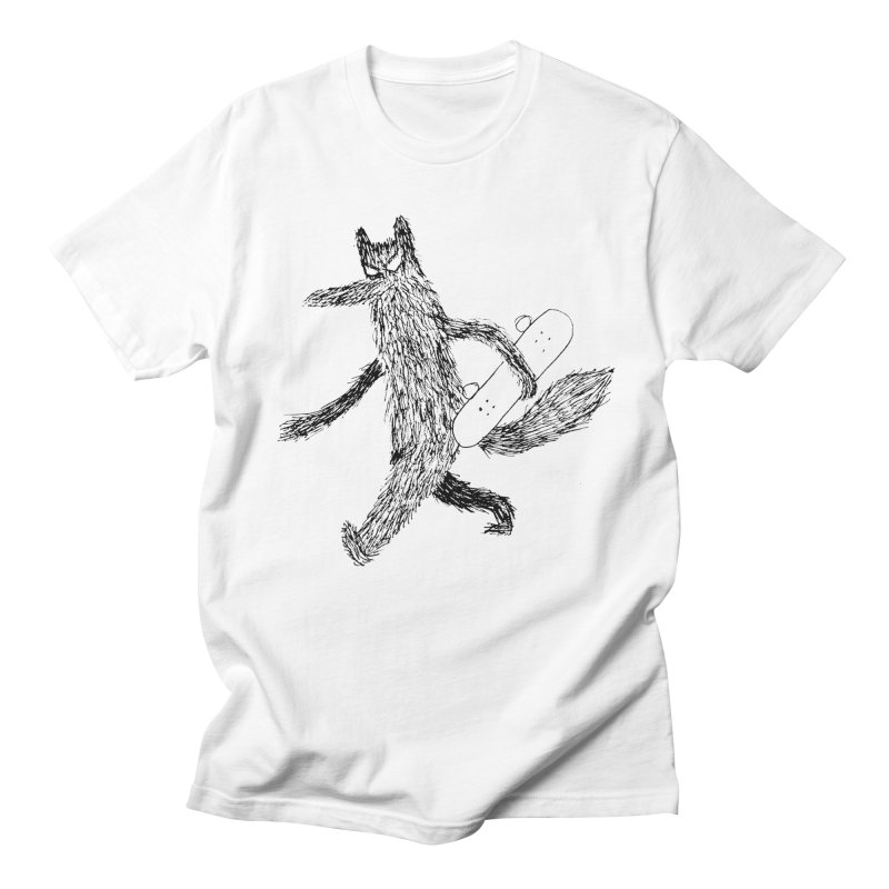 skate wolf in Men's T-Shirt White by austinbeale's Artist Shop