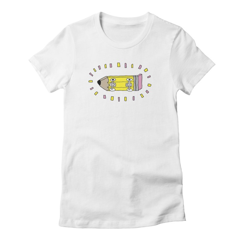 Pencil Deck in Women's Fitted T-Shirt White by austinbeale's Artist Shop