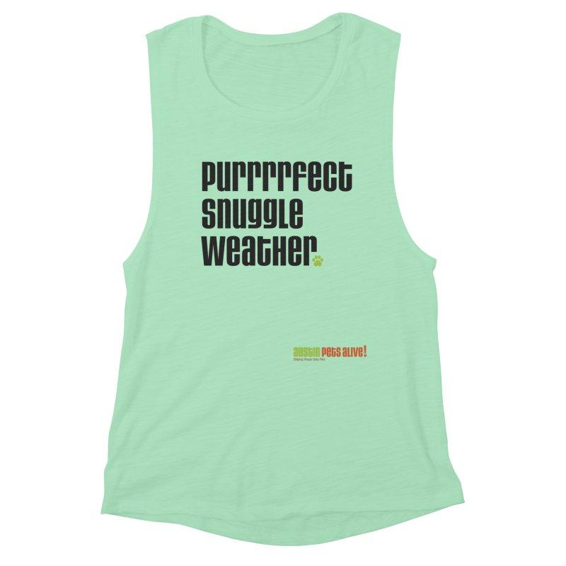 Purrrrfect Snuggle Weather Women's Muscle Tank by Austin Pets Alive's Artist Shop