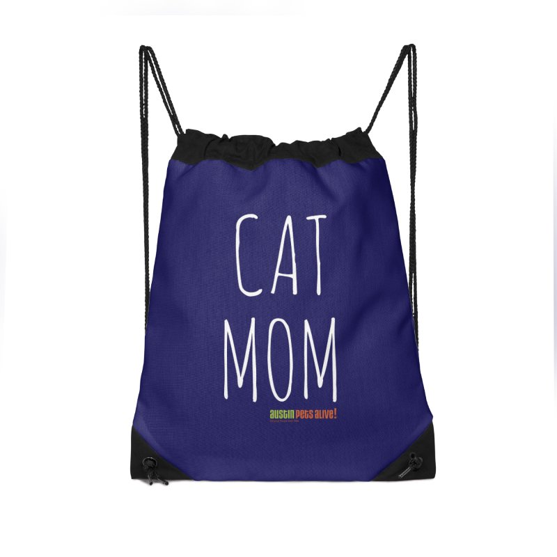 Cat Mom Accessories Drawstring Bag Bag by Austin Pets Alive's Artist Shop