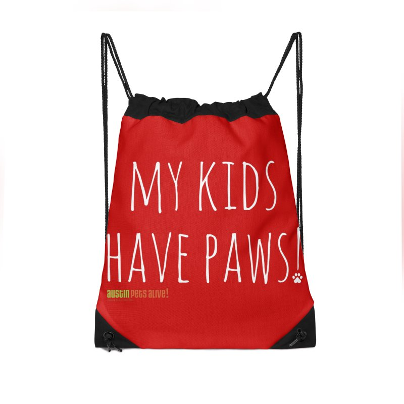 My Kids Have Paws! Accessories Drawstring Bag Bag by Austin Pets Alive's Artist Shop