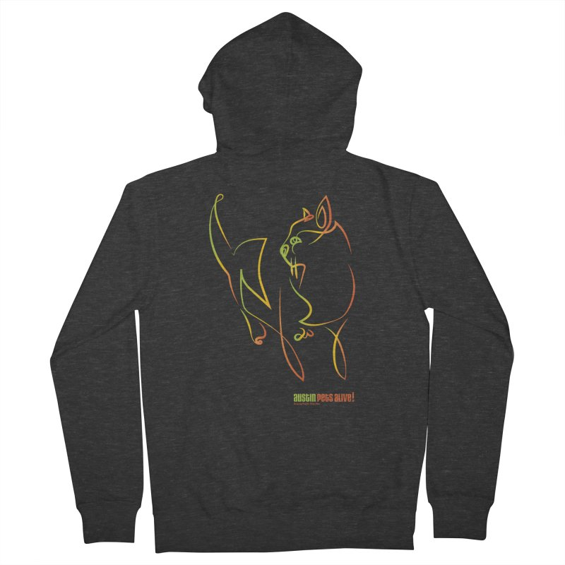 Contour Cat Men's French Terry Zip-Up Hoody by austinpetsalive's Artist Shop