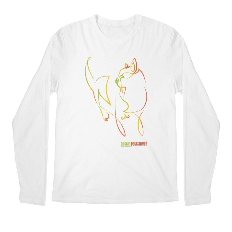 Contour Cat Men's Regular Longsleeve T-Shirt by Austin Pets Alive's Artist Shop