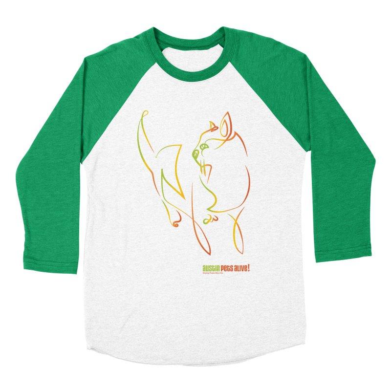 Contour Cat Men's Baseball Triblend Longsleeve T-Shirt by Austin Pets Alive's Artist Shop