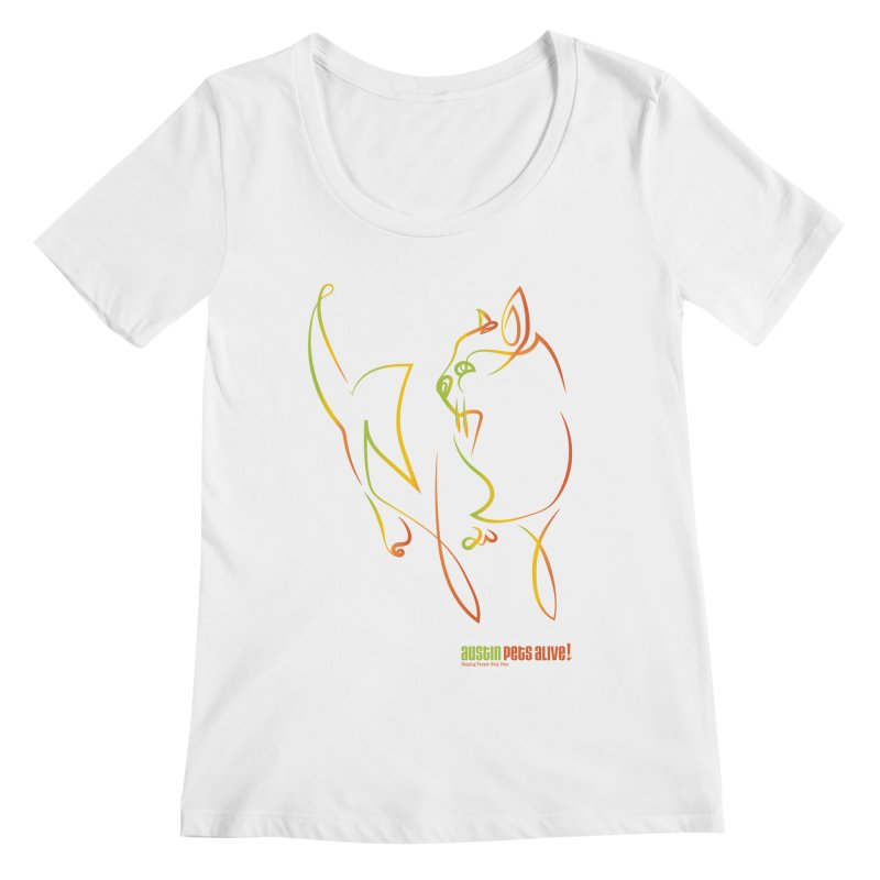 Contour Cat Women's Regular Scoop Neck by austinpetsalive's Artist Shop