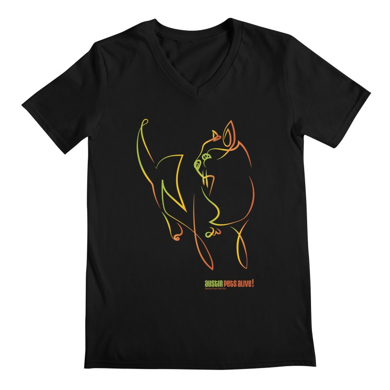 Contour Cat Men's Regular V-Neck by Austin Pets Alive's Artist Shop