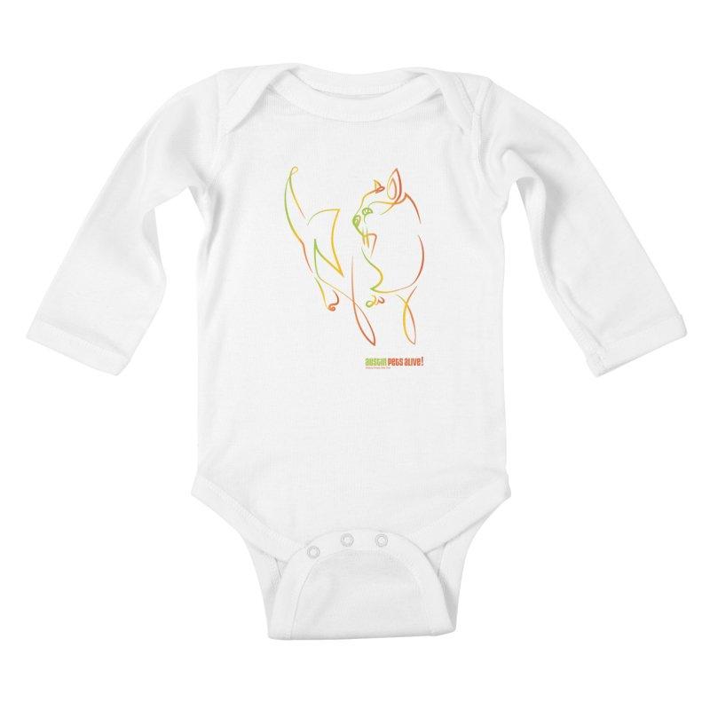 Contour Cat Kids Baby Longsleeve Bodysuit by austinpetsalive's Artist Shop
