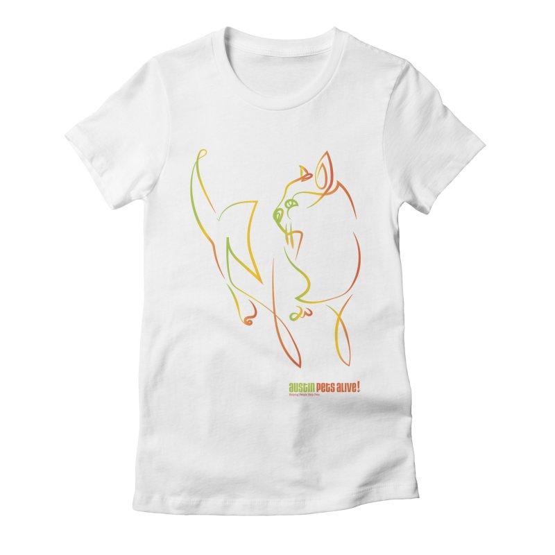 Contour Cat Women's Fitted T-Shirt by Austin Pets Alive's Artist Shop