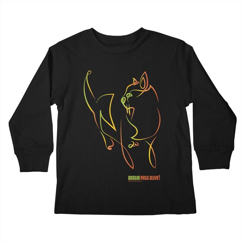 Contour Cat Kids Longsleeve T-Shirt by Austin Pets Alive's Artist Shop