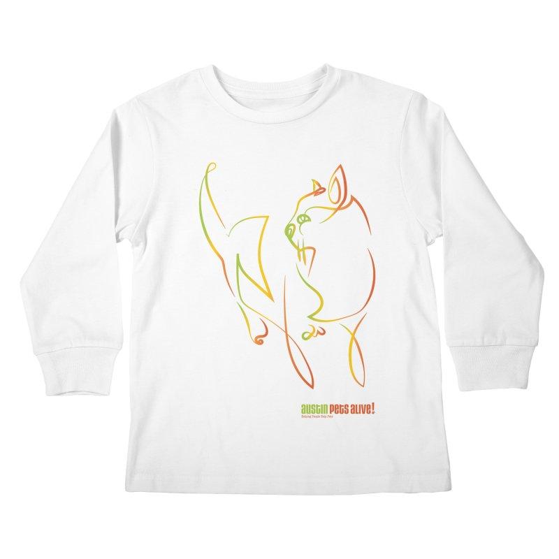 Contour Cat Kids Longsleeve T-Shirt by austinpetsalive's Artist Shop
