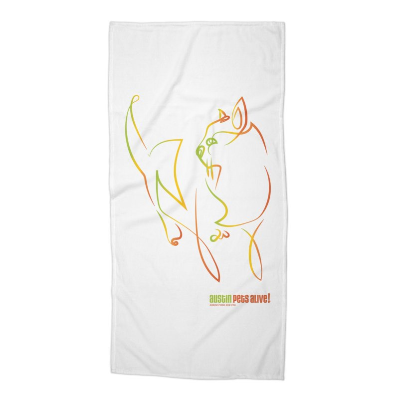 Contour Cat Accessories Beach Towel by Austin Pets Alive's Artist Shop