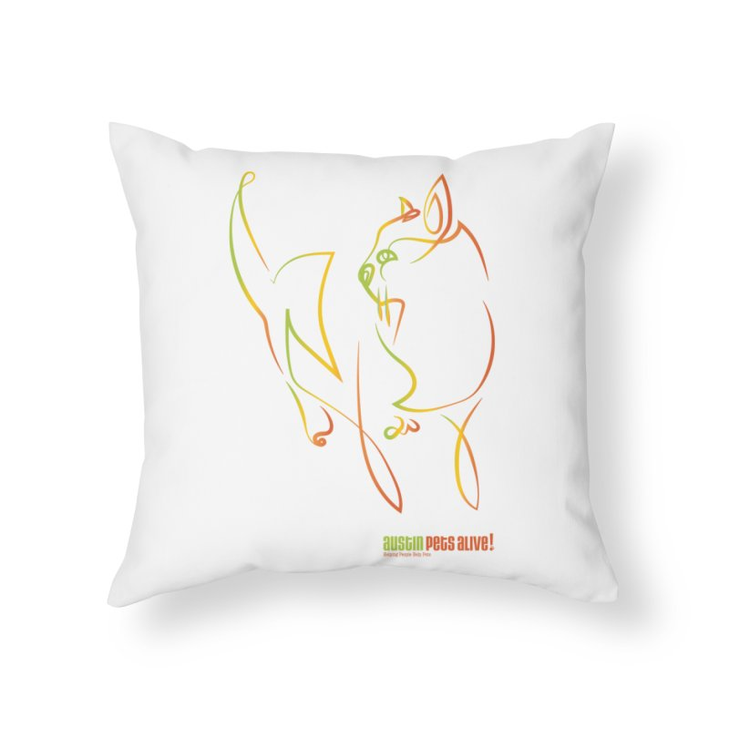 Contour Cat Home Throw Pillow by Austin Pets Alive's Artist Shop