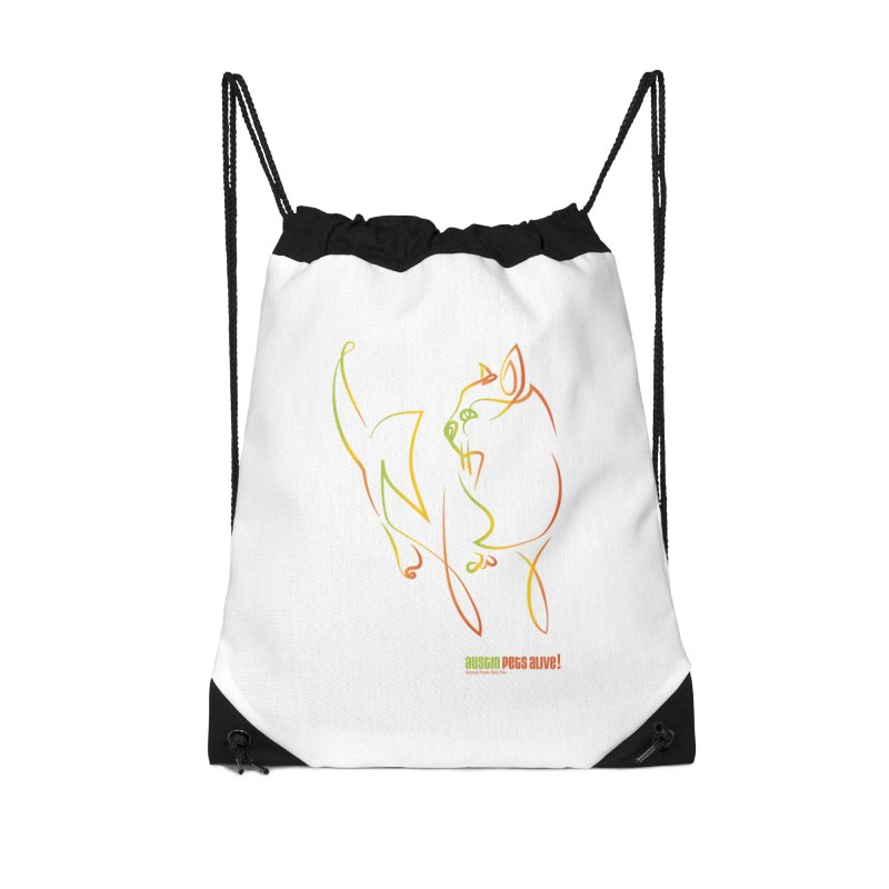 Contour Cat Accessories Drawstring Bag Bag by Austin Pets Alive's Artist Shop