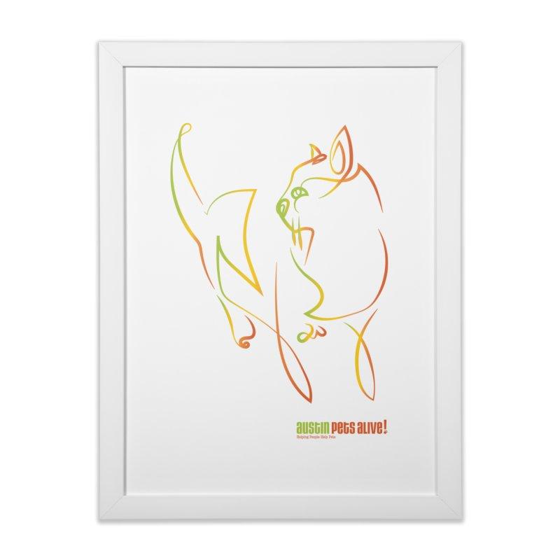 Contour Cat Home Framed Fine Art Print by Austin Pets Alive's Artist Shop