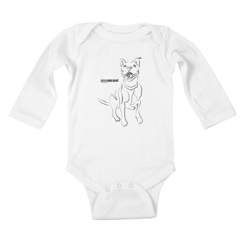Contour Dog Kids Baby Longsleeve Bodysuit by Austin Pets Alive's Artist Shop