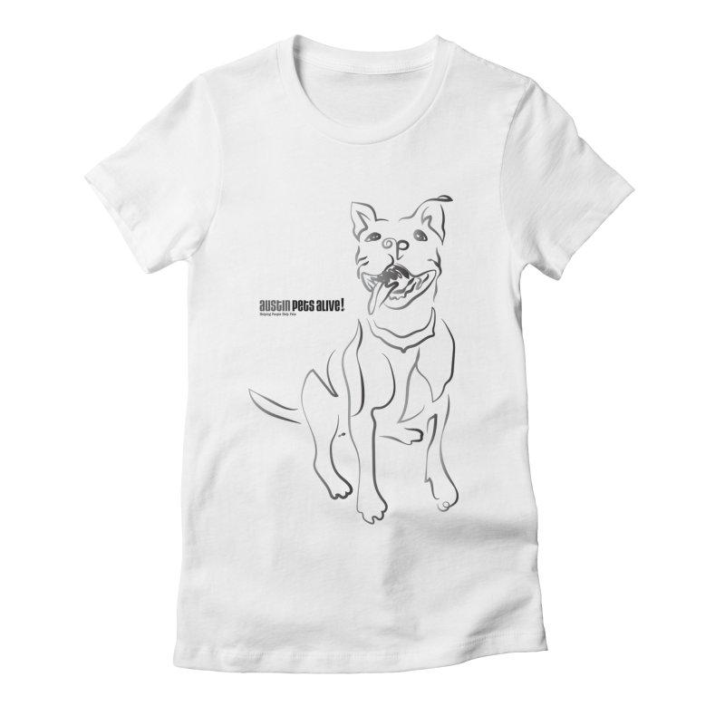 Contour Dog Women's Fitted T-Shirt by Austin Pets Alive's Artist Shop