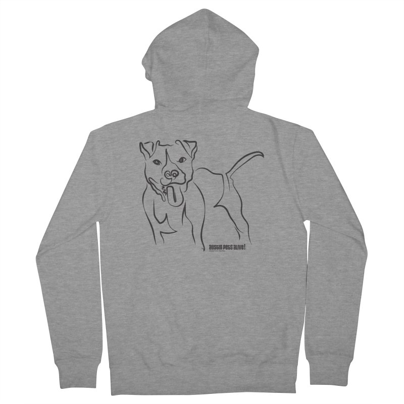 Tail-Wagin' Contour Dog Men's French Terry Zip-Up Hoody by austinpetsalive's Artist Shop