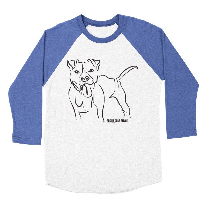 Tail-Wagin' Contour Dog Men's Baseball Triblend Longsleeve T-Shirt by Austin Pets Alive's Artist Shop