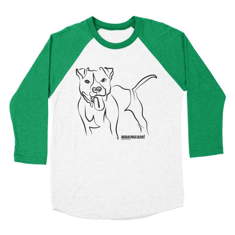 Tail-Wagin' Contour Dog Men's Baseball Triblend Longsleeve T-Shirt by Austin Pets Alive's Artist Shop