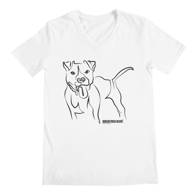 Tail-Wagin' Contour Dog Men's V-Neck by Austin Pets Alive's Artist Shop