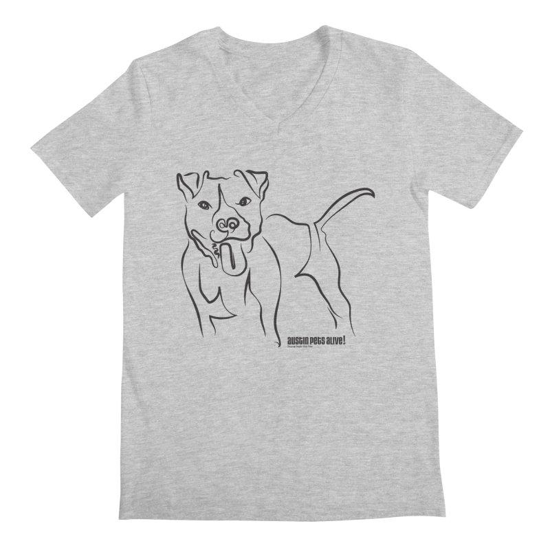 Tail-Wagin' Contour Dog Men's Regular V-Neck by Austin Pets Alive's Artist Shop