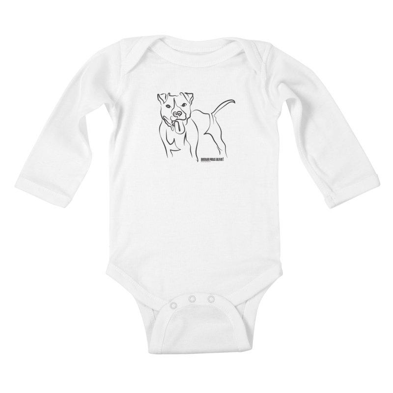 Tail-Wagin' Contour Dog Kids Baby Longsleeve Bodysuit by Austin Pets Alive's Artist Shop