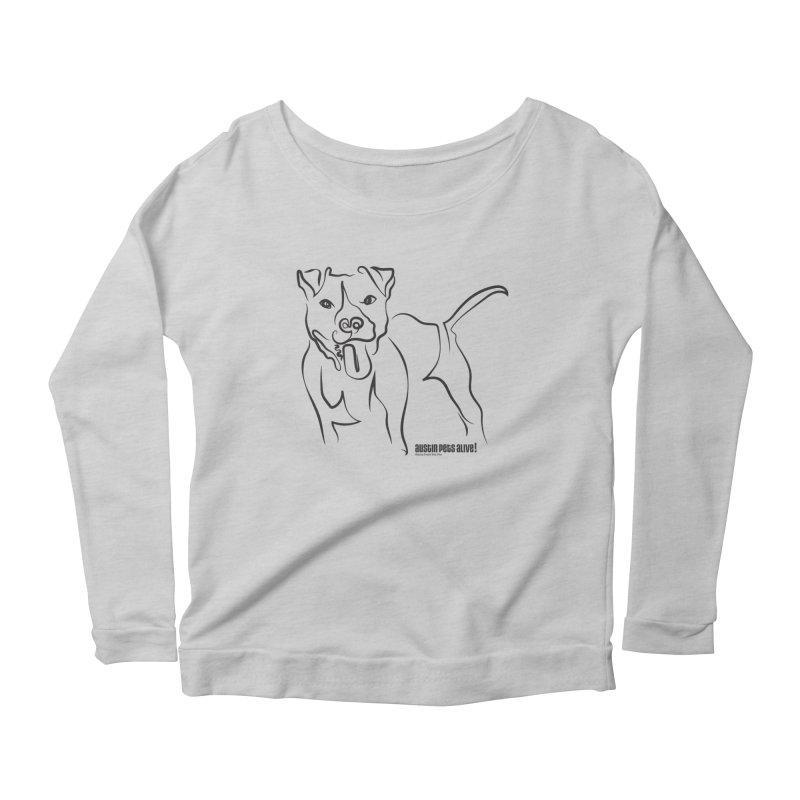 Tail-Wagin' Contour Dog Women's Scoop Neck Longsleeve T-Shirt by Austin Pets Alive's Artist Shop