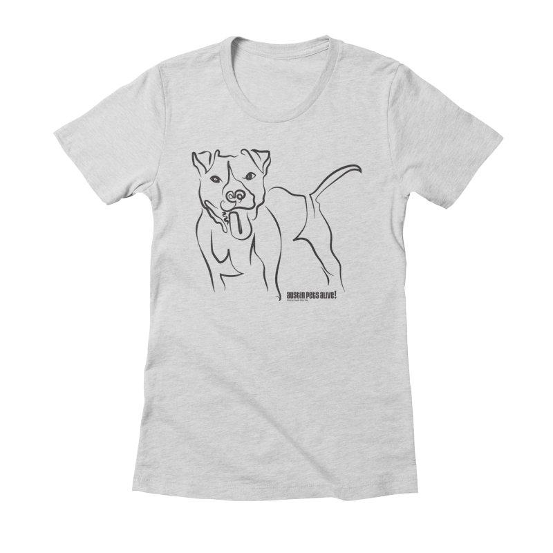 Tail-Wagin' Contour Dog Women's Fitted T-Shirt by austinpetsalive's Artist Shop