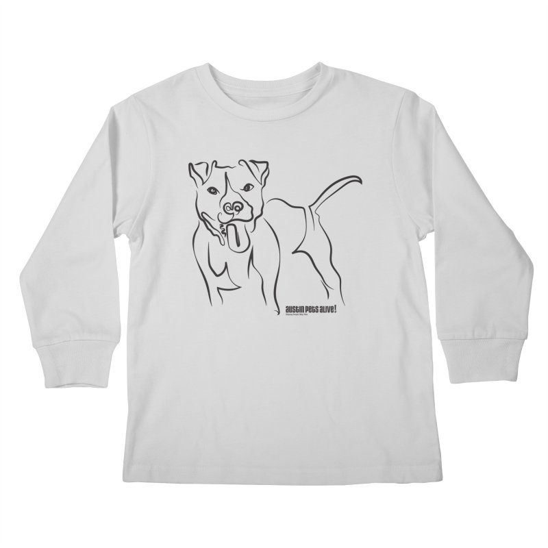 Tail-Wagin' Contour Dog Kids Longsleeve T-Shirt by Austin Pets Alive's Artist Shop