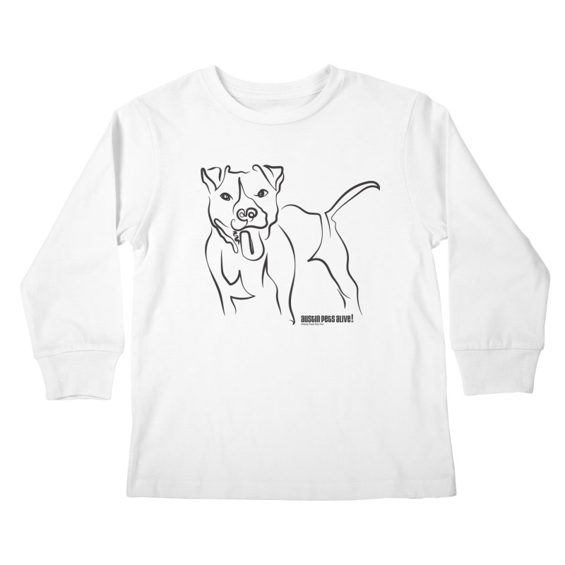 Tail-Wagin' Contour Dog Kids Longsleeve T-Shirt by Austin Pets Alive's Artist Shop