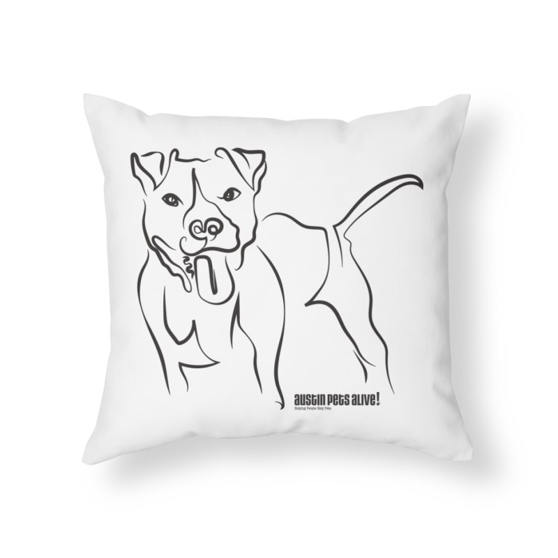 Tail-Wagin' Contour Dog Home Throw Pillow by Austin Pets Alive's Artist Shop