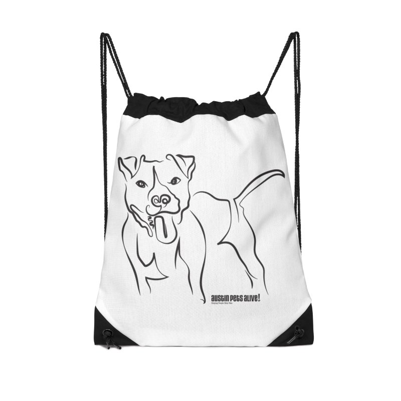 Tail-Wagin' Contour Dog Accessories Drawstring Bag Bag by Austin Pets Alive's Artist Shop