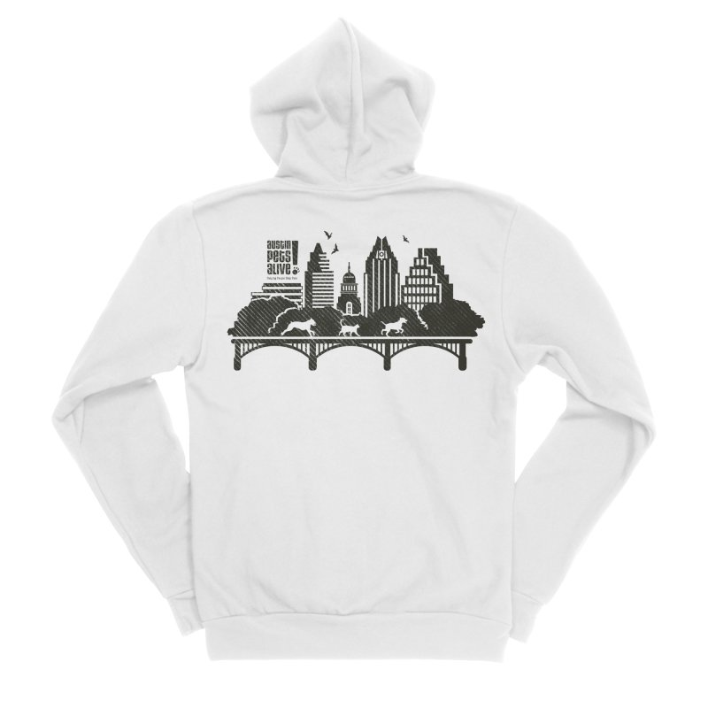 Pet Party on the Austin Skyline Men's Sponge Fleece Zip-Up Hoody by Austin Pets Alive's Artist Shop