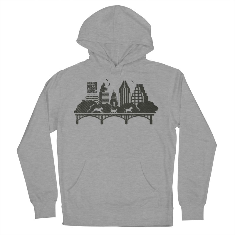 Pet Party on the Austin Skyline Men's French Terry Pullover Hoody by Austin Pets Alive's Artist Shop