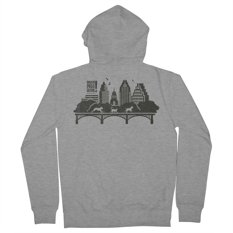 Pet Party on the Austin Skyline Men's French Terry Zip-Up Hoody by Austin Pets Alive's Artist Shop